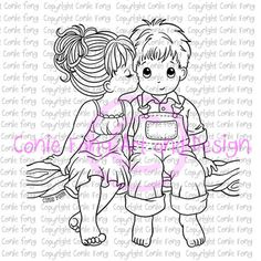 Digital Stamp Digi Kissed By An Angel Conie Fong Valentines Love Coloring Page Boy Girl Children Friendship
