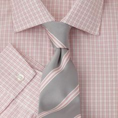 Pink Check Fully Fitted Shirt - 43071  This fully fitted John Francomb Classic has a semi-cutaway collar and single button cuffs. An Easy to Iron finish makes it easier to care for.