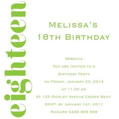 Birthday Bash Square w/ Magnet in Lime Invitation - Impressive Invitations