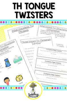 No prep TH sound homework for speech therapy articulation distance learning. Articulation Therapy, Therapy Worksheets, Articulation Activities, Speech Therapy Activities, Activities For Kids, Early Elementary Resources, Speech Therapy Games, Play Therapy Techniques, Tongue Twisters