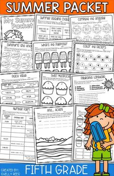 Summer Worksheets For Grade - - Summer School Activities, Math Activities, Teaching Resources, Teaching Ideas, Kid Activites, Teaching Tools, Summer Worksheets, Reading Worksheets, Fifth Grade Math