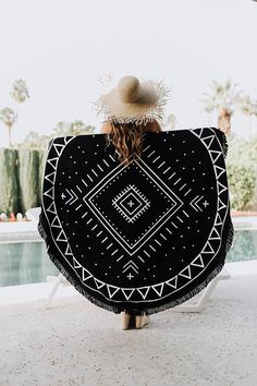 "Boho Round Beach Towel - Roundie - Beach Blanket ""Joshua Tree"" (boho towel, boho style, bohemian style, black and white beach towel) Beach Attire, Beach Wear, Black And White Beach, Beach Hacks, Brunch Outfit, Boho Stil, Beach Blanket, Boho Outfits, Boho Fashion"
