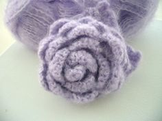 Hand Crochet Corsage Brooch Pin Large Lilac Mohair  Rose. $9.50, via Etsy.