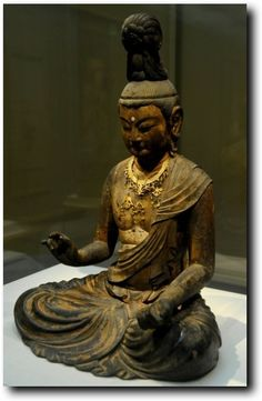 Seated Bodhisattva by Kaikei ca. 1185–1220. Kamakura period. wood, lacquer, gold, copper, and crystal for the eyes. Japan.