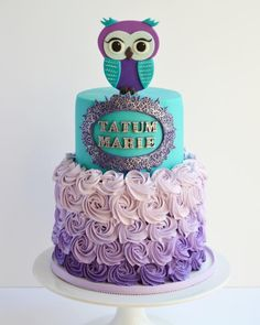 Teal and purple owl cake - Cake by Seda Molina
