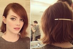 Emma Stone is keeping the minimalist hair accessory trend alive for fall. P.S. To ensure your backwards headband stays put, Roszak recommends spraying some hairspray to the area first. She used L'Oreal Paris Advanced Hairstyle Lock It Weather Control Hair Spray ($3.99) on Stone.