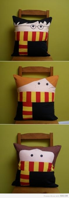 HARRY POTTER PILLOWS. Oh my goodness! Maybe for that home theater we keep dreaming about.