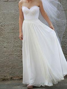 A-line Sweetheart Chiffon Floor-length Lace Wedding Dresses -USD$262.29