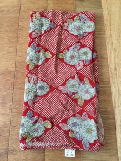 Antique Vintage Floral Stripe Cotton Fabric ~yellow tangerine pink ~dolls quilt