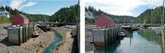 Hall's Harbour at high tide and low tide on the Bay of Fundy. The Bay of Fundy has the highest tides in the world.