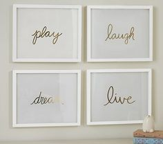 """Gold Sentiment Inserts        Inspire your family every day with these simple words.          17"""" wide x 14"""" high         Made of paper with gold foil letters.         Set of 4, one of each word.  $29"""