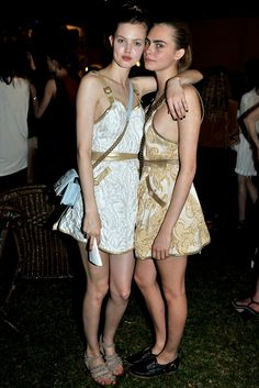 Lindsey Wixson and Cara Delevingne in Singapore