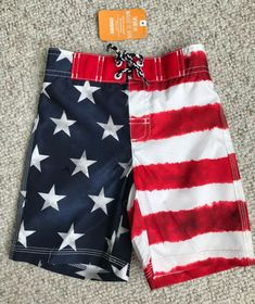 (boys 2T) AMERICAN FLAG SWIM TRUNKS red white blue stars and stripes board  short 357a6aa48d08