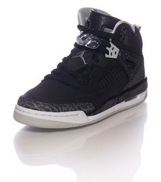d926a0484f2b JORDANS Lace up Mid top sneaker JORDAN logo on tongue Clear lace lock Spike  Lee inspired