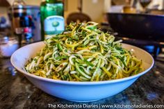 The Kitchenista Diaries: Zucchini & Summer Squash Noodles with Garlic and Mint