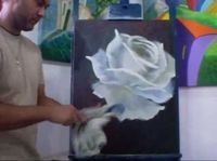 White Rose painting tutorial. Acrylic Painting Techniques, Painting Videos, Painting Lessons, Art Lessons, Painting & Drawing, Rose Art, Learn To Paint, Acrylic Art, Art Tutorials