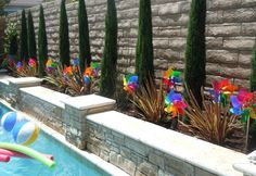 Rainbow Chevron Pool party Summer Party Ideas | Photo 2 of 16