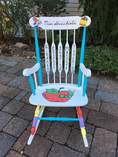 Teacher Signs Discover Teacher Rocking Chair Custom Teacher Chair Hand Painted Teacher Chair - LOCAL to NEW JERSEY - Convo before ordering to arrange delivery New Classroom, Classroom Setup, Classroom Design, Kindergarten Classroom, Classroom Organization, Stools For Classroom, Classroom Ideas For Teachers, Seasonal Classrooms, Montessori Elementary
