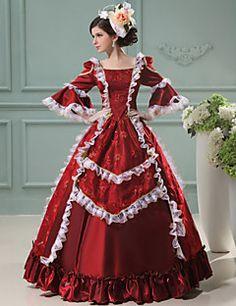 steampunk®wine roten langen Ärmeln Prinzessin Kleid viktorianischen Kleid royal Vintage Partei lange Ballkleider