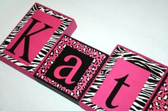 LARGE BLOCKS-Katie Collection Personalized Blocks -Zebra, and Leopard Print with Hot Pink Name Blocks -Price per letter by slcshop on Etsy Wooden Block Letters, Diy Letters, Wooden Blocks, Baby Zebra, Pink Zebra, Cheetah, Name Blocks, Colorful Fish