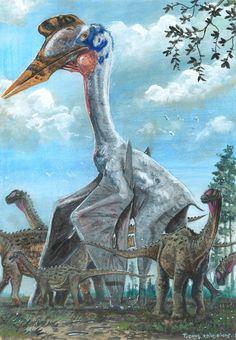 Tuomas Koivurinne: Giant azhdarchid pterosaur, Hatzegopteryx thambema peacefully strolling through a herd of dwarf titanosaur sauropods, Magyarosaurus dacus. Scene from Cretaceous Hateg Island.