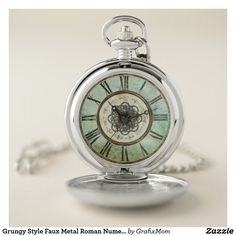 Grungy Style Faux Metal Roman Numerals Pocket Watch