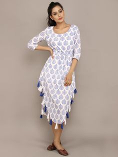 White Blue Block Printed Cotton Asymmetric Dress