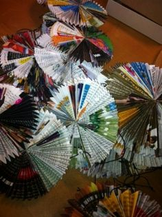 recycled magazine paper ornaments