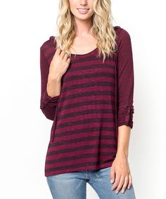 Look at this Burgundy Stripe Hoodie - Women on #zulily today!