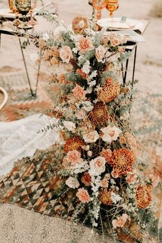 Tree desert wedding elopement with a boho theme and a trendy warm hued color palette