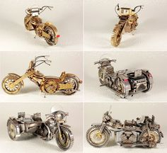 Miniature motorcycles made from miscellaneous watch parts - designed by Dmitry Khristenko.