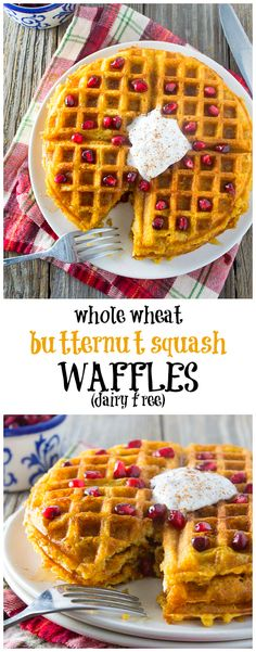 A festive and healthy holiday breakfast or brunch item! These dairy free whole wheat butternut squash waffles are made with whole grains and no refined sugars. Light, fluffy, and deliciously sweet, your family and guests will go nuts for this. Brunch Recipes, Breakfast Recipes, Breakfast Ideas, Breakfast Healthy, Sweet Breakfast, Breakfast Dessert, Healthy Breakfasts, Paleo Butternut Squash, Breakfast Waffles