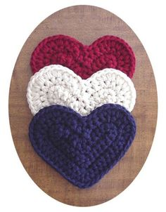 Americana Heart Potholders Set of 3 Heart Shaped Hot Pads Patriotic Crochet Boutique Red White Blue Home Decor 4th of July