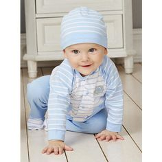 "Little Me Boys 3 Piece Blue Striped Long Sleeve Button Down Top, Blue Footed Pant and Hat Set - Mamiye Brothers  - Babies""R""Us"