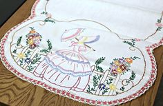 Beautiful Southern Belle with Parasol in Garden--Vintage Hand-Embroidered Table Runner Dresser Scarf