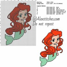 Little marmaid Ariel princess Disney chibi free cross stitch pattern 100x128 6 colors