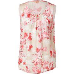 GIAMBATTISTA VALLI Silk Flower Print Blouse in Pink (800 CAD) found on Polyvore