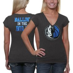 Dallas Mavericks Ladies Turnover V-Neck T-Shirt - Charcoal