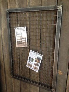 This mesh front steel notice board is a brilliant industrial style solution for any home office or study | Metroretro