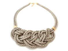 Beige Rope Nautical Knot Statement Necklace by ChichiKnots on Etsy, $25.00