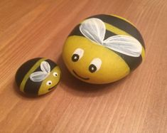 Small Lady bug & bumble bee garden rocks by LilRockShoppe on Etsy