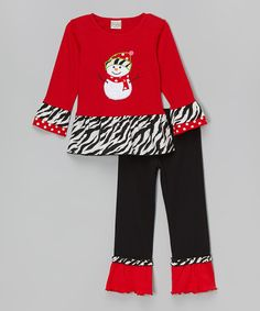 Red Snowman Tunic & Pants - Infant, Toddler & Girls | zulily