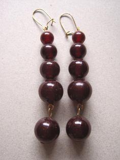 Genuine Cherry Amber Bakelite Bead Earrings by MoonlightMartini, $15.00