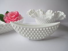 Vintage Fenton Milk Glass Hobnail Bowl Dish by mymilkglassshop Vintage Plates, Vintage Glassware, Pink Dishes, Fenton Milk Glass, Indiana Glass, Opaline, Carnival Glass, Glass Collection, Cut Glass