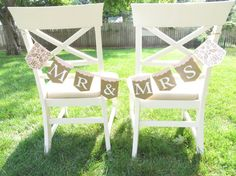 Mr & Mrs Wedding Chair Banner Mr and Mrs Head by thefavorstation