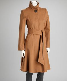 Take a look at this Dark Camel Tie-Waist Wool-Blend Coat - Women by George Simonton on #zulily today!