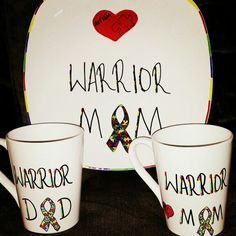 """Personalized ceramic plates """"warrior mom/dad autism awareness plate and mug set"""" Can personalize plates, mugs, wine glasses, bowls, ornaments etc! Check out my fb page michelle's Personalized creations or my instagram michellespersonalizedcreations With more of my work! Plates are $27.99 free shipping anywhere in us! ☺"""