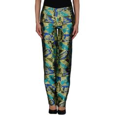Louise Gray Formal Trouser (14.970 RUB) ❤ liked on Polyvore featuring pants, light green, zipper pants, straight leg pants, zip pants, multi colored pants and print pants