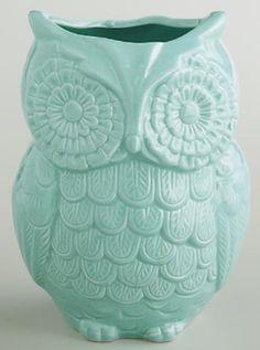 Blue owl utensil holder