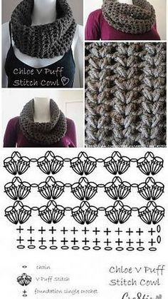 ideas for crochet cowl diagram patrones Crochet Afghan Stitch, Poncho Au Crochet, Pull Crochet, Crochet Cowl Free Pattern, Crochet Diagram, Crochet Stitches Patterns, Crochet Scarves, Crochet Motif, Crochet Clothes